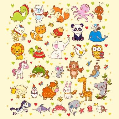 set of animals, fish and birds
