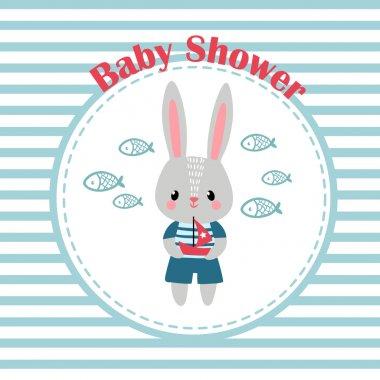 invitation card with little rabbit