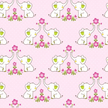 Cute floral seamless pattern with elephants