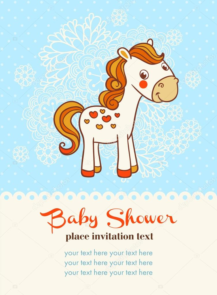 Baby shower invitation card with horse — Stock Vector © svaga #78522586