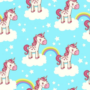 seamless pattern with unicorn, clouds, rainbow