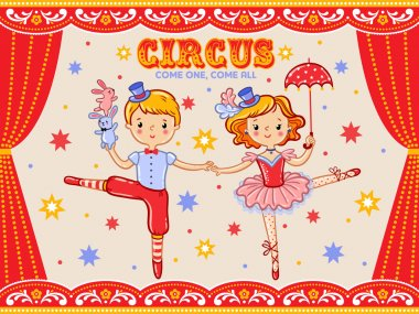 invitation card with two circus artists