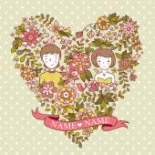 Fényképek esküvői szív, virágok és a madarak