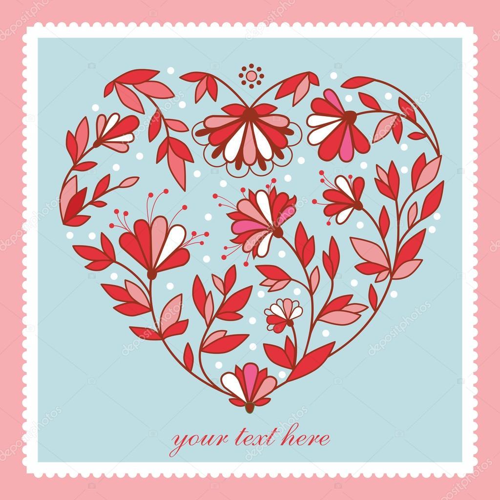 Coeur De Fleur Pour Carte De Mariage Image Vectorielle Svaga