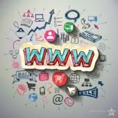 Fotografie Internetový marketing koláž s pozadím ikony