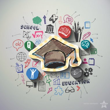 Education collage with icons background