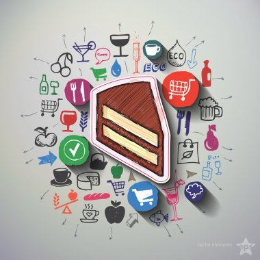 Food collage with icons background
