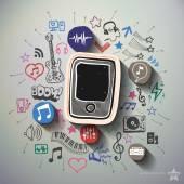 Fotografie Zábavní a hudební koláž s pozadím ikony