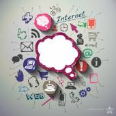 Sociální média koláž s pozadím ikony