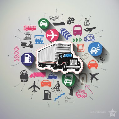 Transportation collage with icons background