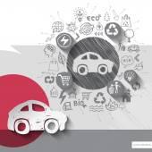 Papír a ručně tažené auto znak s pozadí ikony