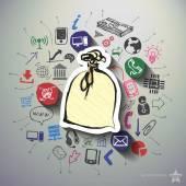 Finanční koláž s pozadím ikony
