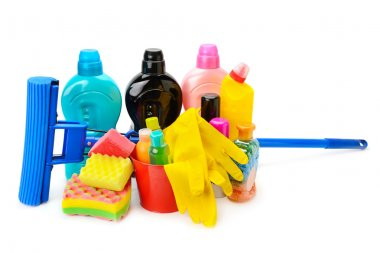 household chemicals, protective gloves and a mop isolated on whi