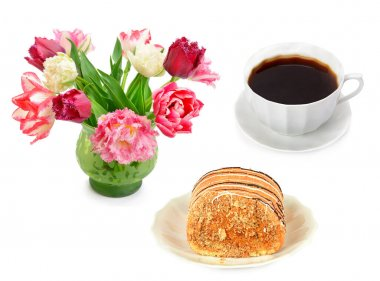 Cup of coffee, cake and bouquet of flowers isolated on white background. Collage. Holidays and events concept6.