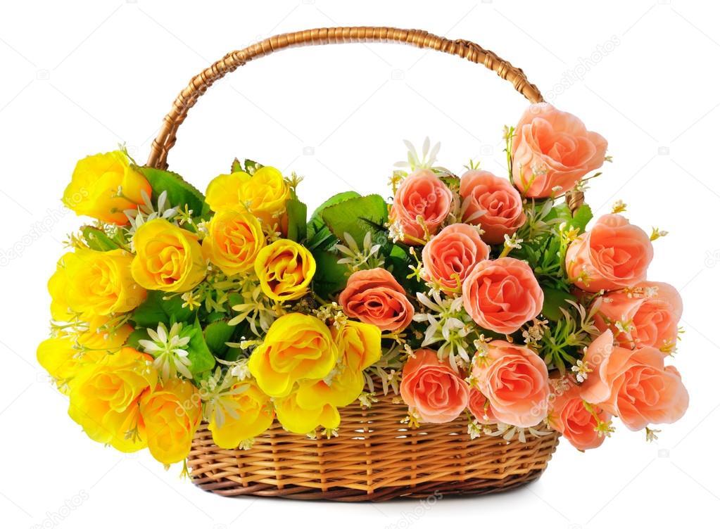 Silk flowers in a basket