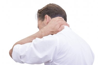 White collar worker with neck pain