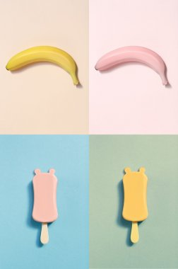 Set of colorful bananas
