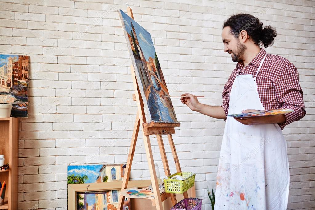 Professional artist painting picture