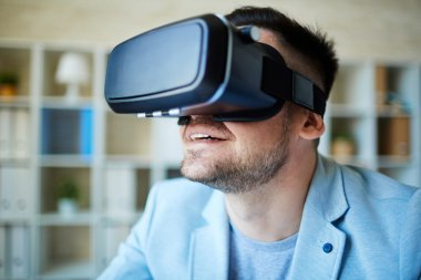 man enjoying virtual environment