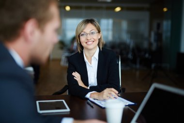 Young employer hiring manager for work