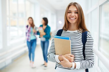 smiing female college student