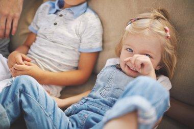Cute little blonde blue-eyed girl