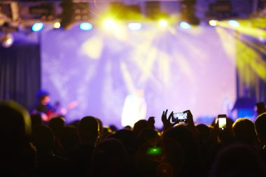 Silhouettes of crowd visiting live concert