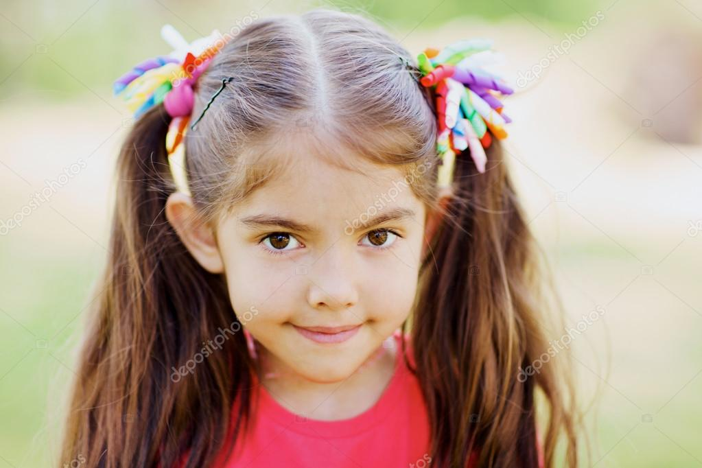 Swell Two Ponytail Little Girl With Two Ponytails Stock Photo Natural Hairstyles Runnerswayorg