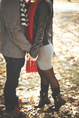 Couple kissing in autumn park