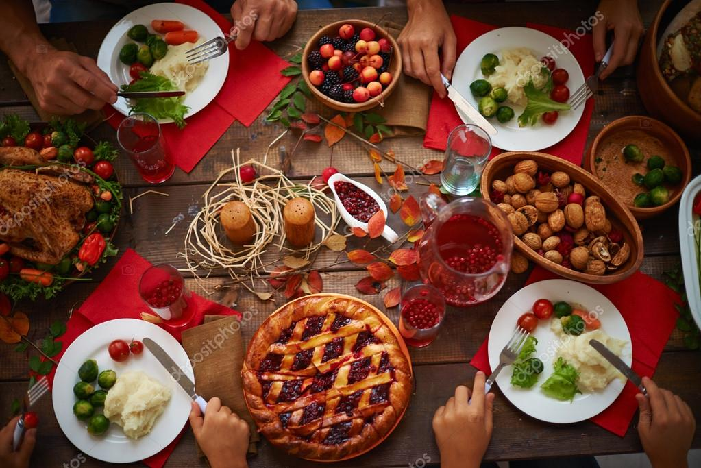 Plates with festive food