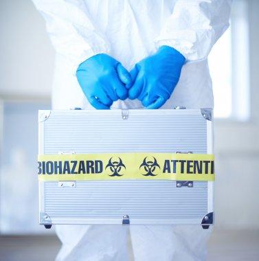 Medical case with biohazard symbol