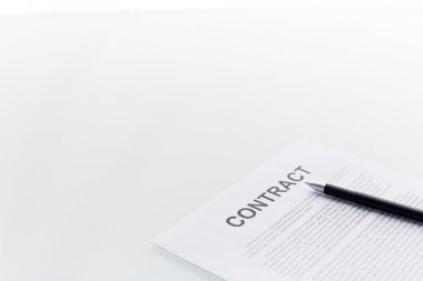 Contract with pen on it.  Agreement on white background stock vector