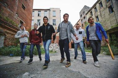 Group of spiteful hooligans