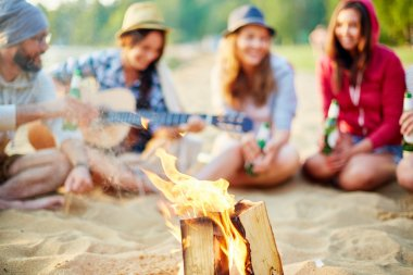 Campfire and restful friends