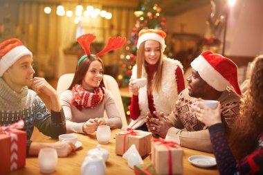 guys and girls  on Christmas evening