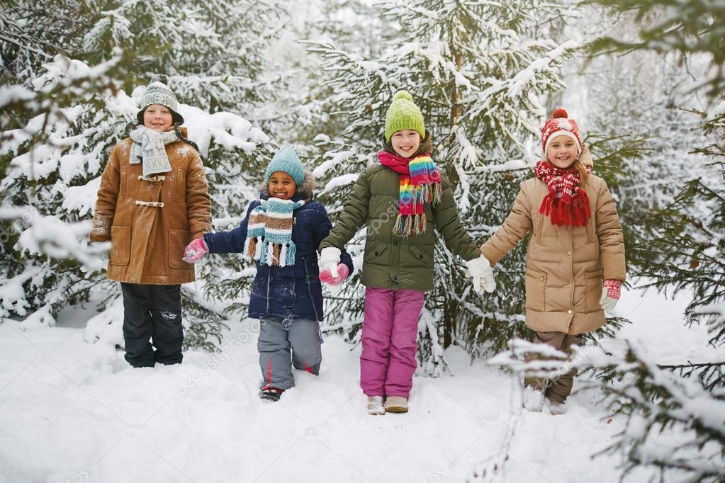 Joyful friends in winter wear