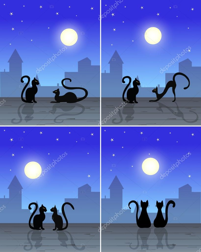 couple cats sitting on roof silhouette of old town blue sky with moon and stars on background for pictures vector u vector de zaretskaya