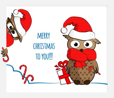 two christmas owls