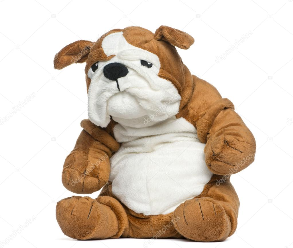 Stuffed English Bulldog Toy In Front Of White Background Stock