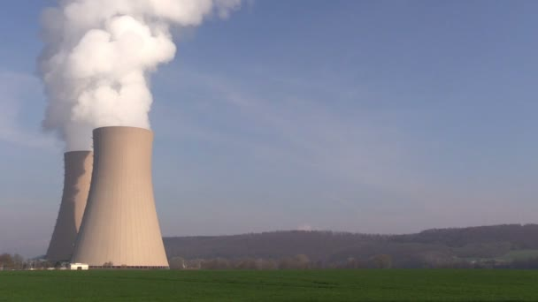 Nuclear station against   blue sky