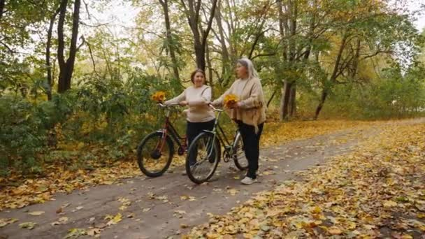 Senior women with bicycles are walking in the autumn forest