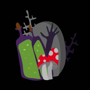 Vector Halloween collage. Tombstone, stretching purple scary hairy hand with claws, branches, amanita mushrooms and bottles of potion on a black background. Mystical atmosphere in a cartoon style.