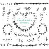 Doodle květinové prvky pro design