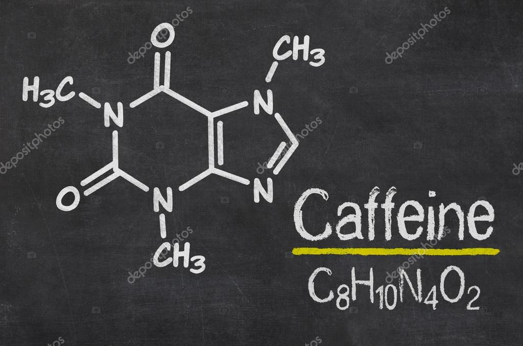Blackboard With The Chemical Formula Of Caffeine Stock Photo
