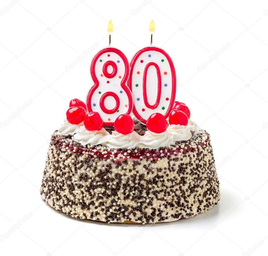 Birthday Cake With Burning Candle Number Stock Photo Zerbor