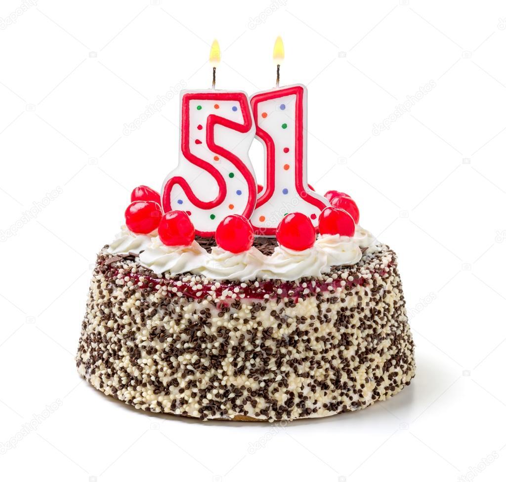 Torta Di Compleanno Con Una Candela Burning Foto Stock Zerbor