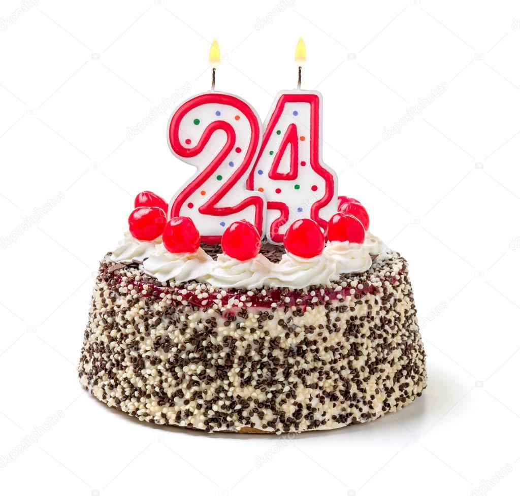 24 szülinapi köszöntő Születésnapi torta egy égő gyertya — Stock Fotó © Zerbor #55509017 24 szülinapi köszöntő