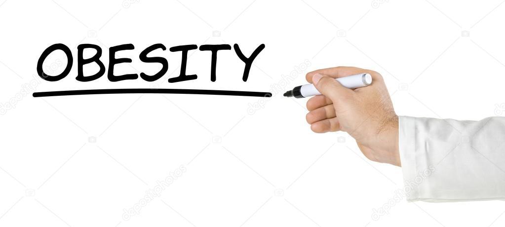 Mano Con Pluma De Escribir La Palabra Obesidad Foto De