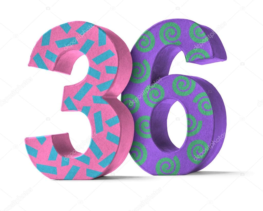 Colorful Paper Mache Number on a white background - Number 36 — Photo by  Zerbor