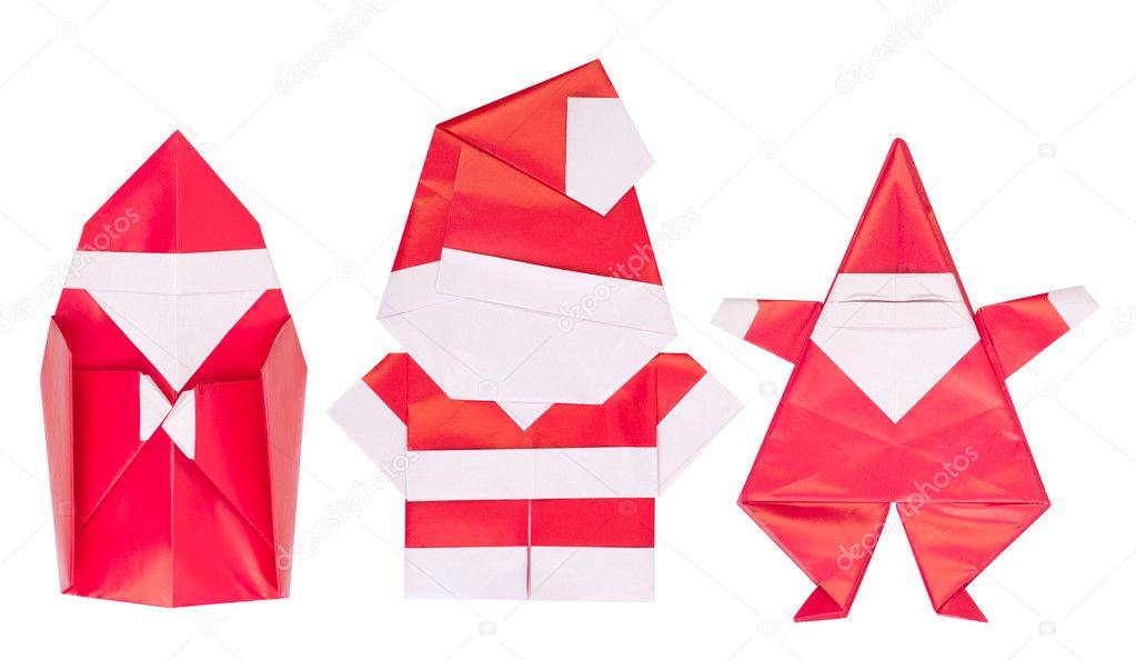 Origamie De Noel Papa Noel De Origami Aislado Sobre Fondo Blanco - Origami-papa-noel